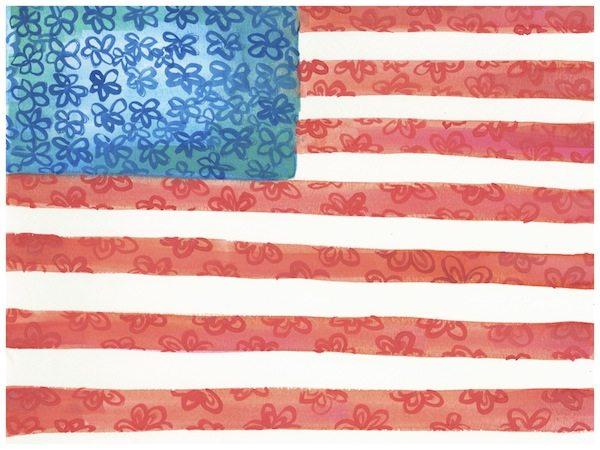 American Flag Floral Watercolor Go Coastal