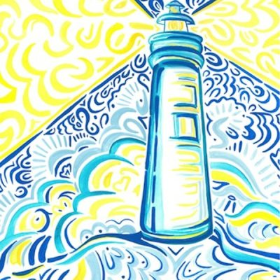 Blue and Yellow Lighthouse