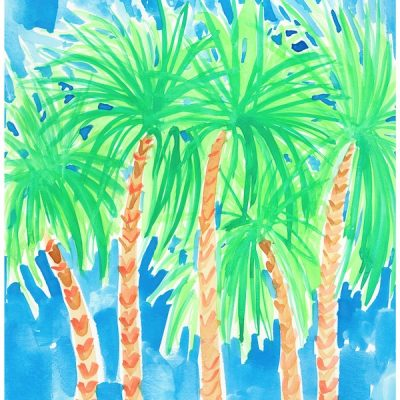 green-and-blue-palm-trees