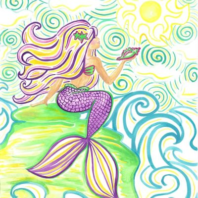 multicolor-mermaid-with-shell-on-rock