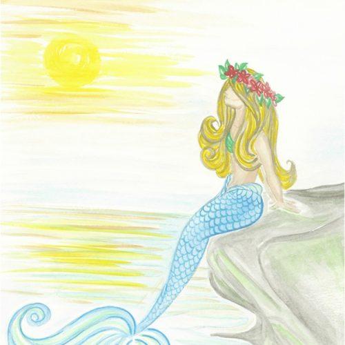 sunset-blue-tail-mermaid-on-rock