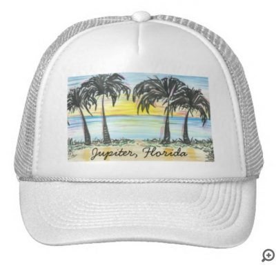 palm tree sunset white hat