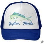 dolphin mahi fish blue hat